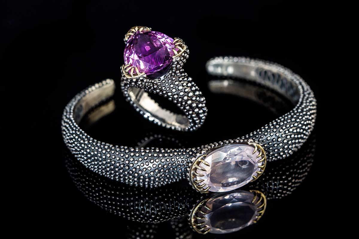 Omalgami Bracelet Eye of Deepth quartz gold, silver