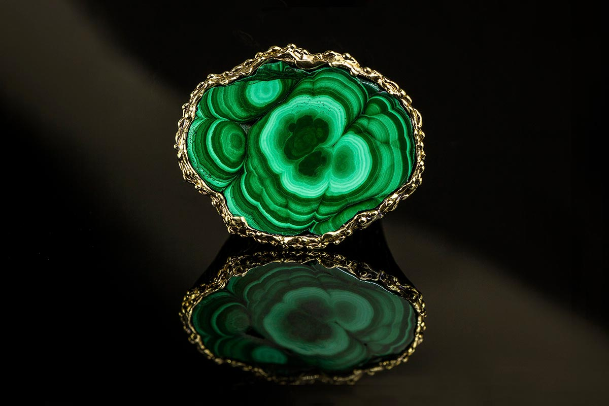 Omalgami Ring silver, gold, malachite