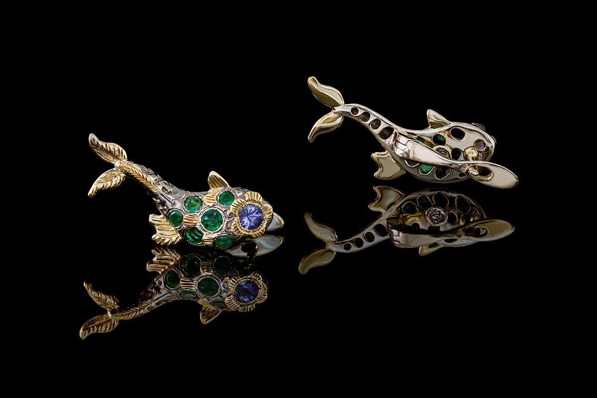 earrings green fish